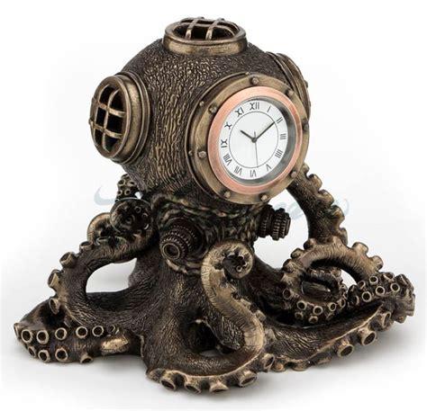 octopus home decor steunk octopus diving bell clock statue nautical