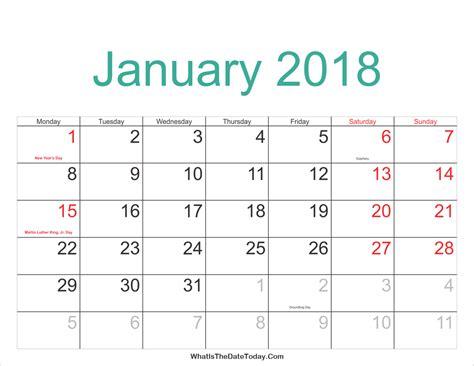 Calendar 2018 January January 2018 Calendar Printable With Holidays