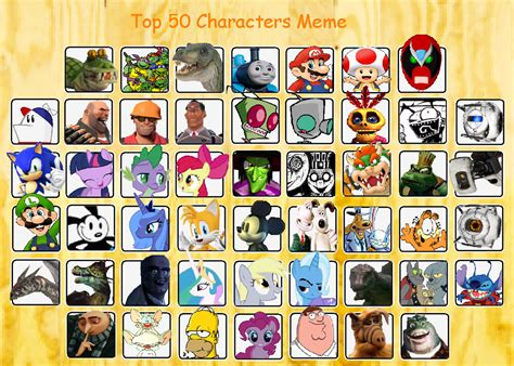 Top 50 Memes - the new top 50 character meme by tagman007 on deviantart