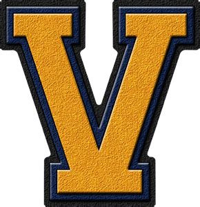 College With Letter V Presentation Alphabets Gold Navy Blue Varsity Letter V