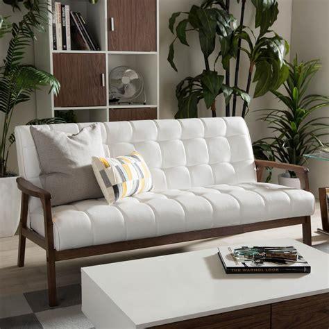 white faux leather sofa set baxton studio masterpiece mid century white faux leather