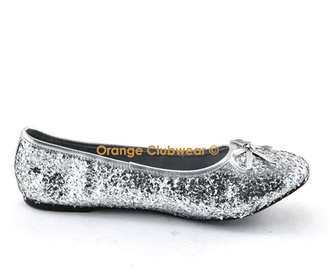shoes silver flats pleaser 16g s silver glitter flats shoes ebay