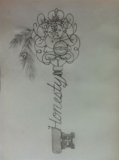 honesty tattoo designs skeleton key sketch honesty tattoos tattoos