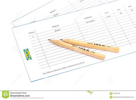 List Ikea ikea pencil and shopping list editorial stock photo image 51239748