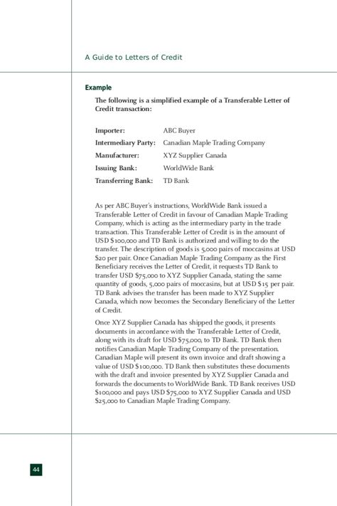 Td Bank Letter Of Credit Letter Of Credit Loc