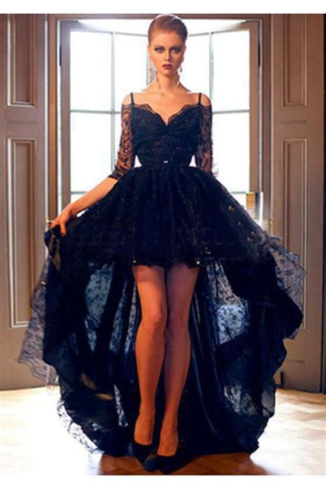 elegant black lace high   sleeves prom dress