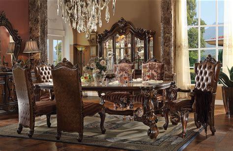 von furniture versailles large formal dining room set in acme 61115 rectangular dining set versailles cherry oak finish