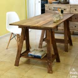 Rustic Desk Ideas A Bird S Leap Diy Rustic Desk With Stained Ikea Legs