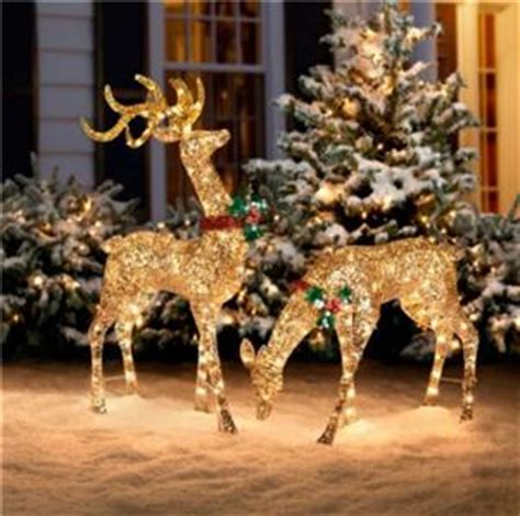 3pc outdoor lighted pre lit gold reindeer deer sleigh