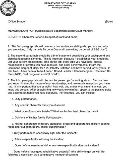 Character Defense Letter character letter army 28 images 6 army character reference retail resumes 7 army character