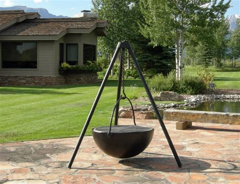 hanging swing fire pit 35 metal fire pit designs and outdoor setting ideas