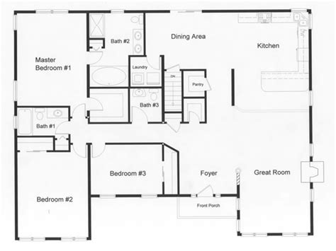 3 bedroom 3 bath floor plans 3 bedroom ranch house open floor plans three bedroom two