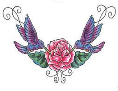 hummingbirds on pink flower tattoo sample tattoos book