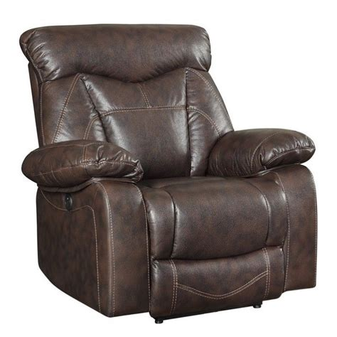 Coaster Zimmerman Faux Leather Power Recliner In Dark