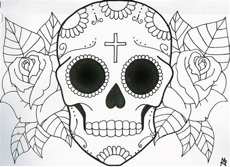 free coloring pages of sugar skull flower