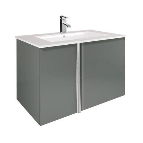 grey gloss bathroom vanity unit avila gloss grey 80cm wall hung vanity unit
