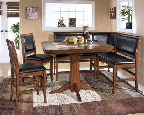 corner dining room table with bench dining room table corner bench set ashley crofton ebay