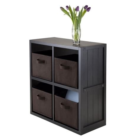 Wainscoting Shelf by 5pc 2x2 Wainscoting Shelf With 4 Baskets In Black 20452