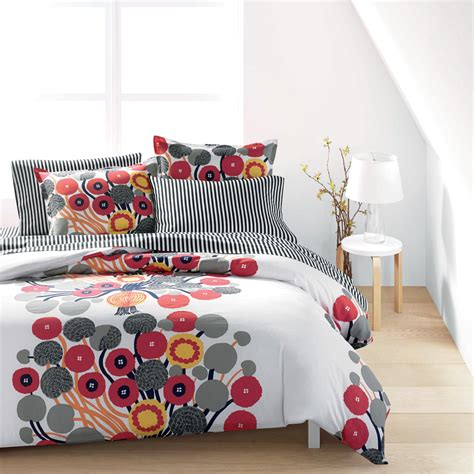 gray and red bedding marimekko annansilm white red grey percale bedding