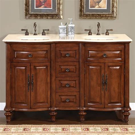 Kitchen Cabinets Dimensions by 55 Inch Double Sink Bathroom Vanity With Cream Marfil