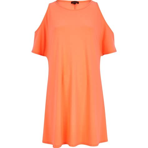 orange swing dress river island bright coral cold shoulder swing dress in