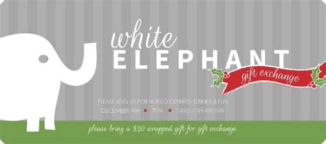work gift exchange white elephant festive banner invitation invite shop