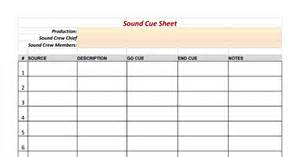 Cue Sheet Template by Sound Cue Sheet Template Sheets