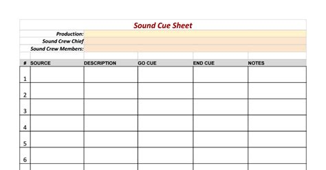 cue sheet template sound cue sheet template sheets