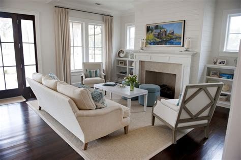 Glamorous Shiplap mode Atlanta Beach Style Living Room