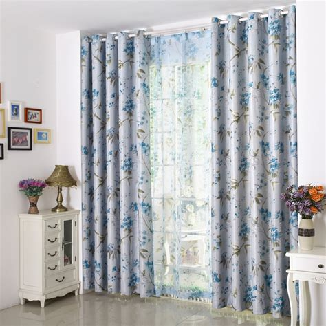blue floral print curtains blackout country elegant curtains blue floral print