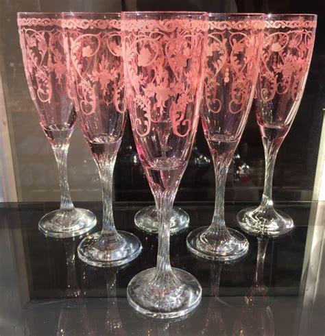 bicchieri di murano 6 bicchieri in pregiato vetro rosa di murano catawiki