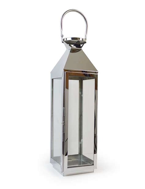 Large Silver Candle Lanterns by Large 62cm Chrome Lantern Stainless Steel Silver Glass