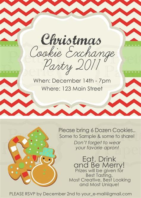 Items Similar To Custom Cookie Exchange Party Invite Classic Printable Pdf On Etsy Cookie Flyer Template Free