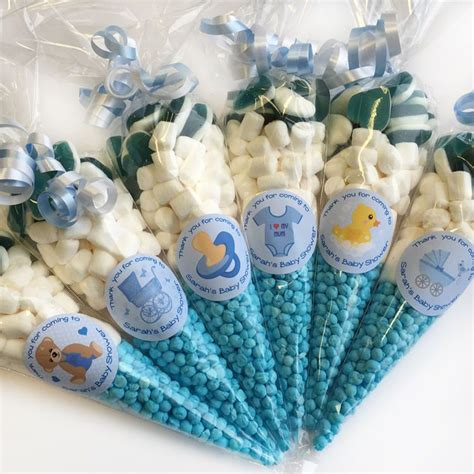Favors For A Boy Baby Shower by Personalised Blue Baby Shower Favours Filled Sweet Cones