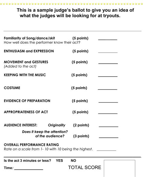 Talent Show Score Card Template by Printable Talent Show Score Sheets In Pdf