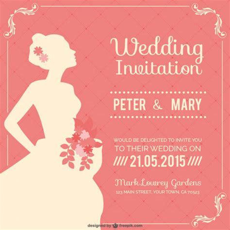 Wedding Invitation Vector by フリー素材 ウェディングドレス姿の花嫁の横顔をデザインした結婚式のベクターイラストテンプレート