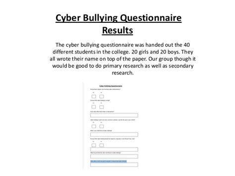 thesis questionnaire about bullying cyber bullying questionnaire results
