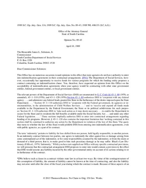 Contract Clause Letter Of Credit Letter Of Indemnification Template Reminder Letter