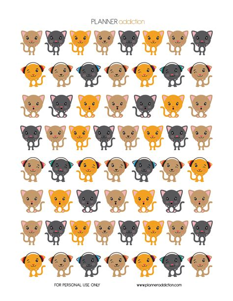 printable cat stickers little cats planner addiction