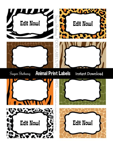free printable animal labels jungle party labels safari food labels instantly