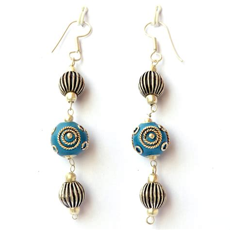 Silver Handmade Earrings - handmade earrings blue with silver plated