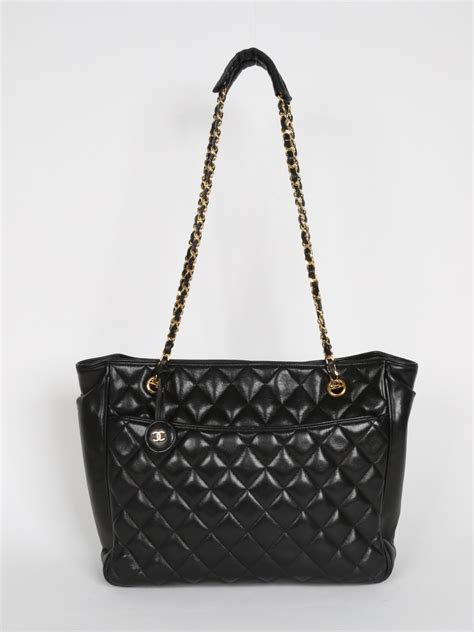Chanel Luxury Tote Chanel Black Quilted Leather Tote Luxury Bags