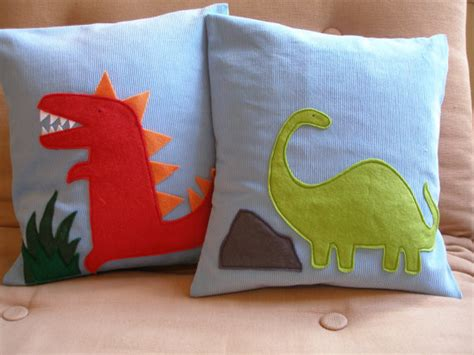 Dinosaur Pillows by Dinosaur Pillow By Two Birds Textiles