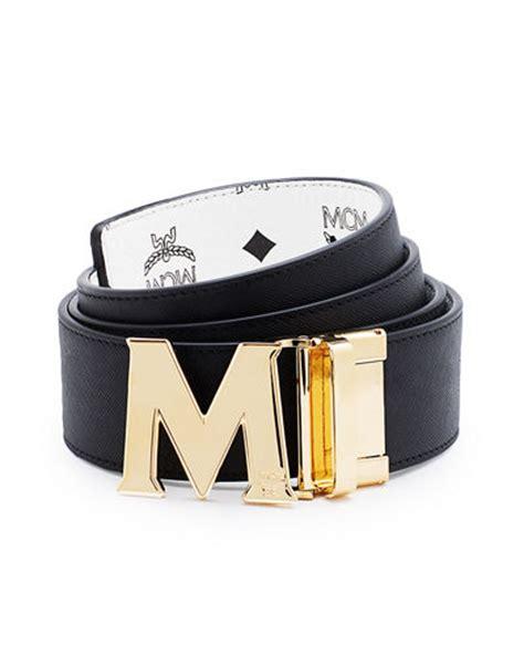 m logo designer belt mcm reversible visetos saffiano leather belt