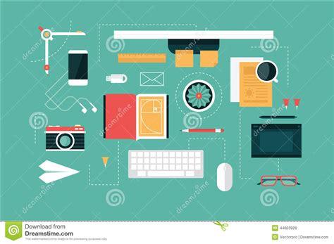 flat design header size designer desk header stock vector image 44653928
