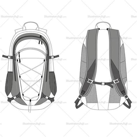 Travel Backpack Fashion Flat Template Illustrator Stuff Backpack Design Template
