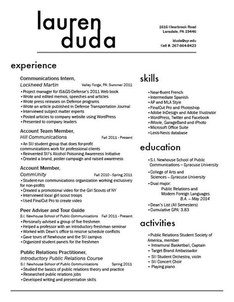 resume design i like the two column style of this and bold headings clean and easy to find