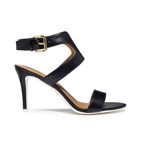 black sandal nine west izolla dress sandals in black black white lyst