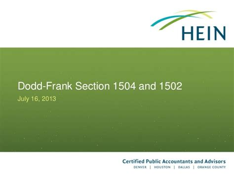 dodd frank section 1502 energy industry accounting and tax update july 2013