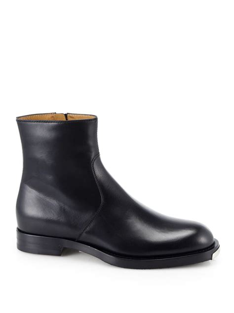 black gucci boots for gucci leather chelsea boots in black for lyst